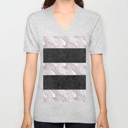 Black Glitter & Marble Stripes   Digital Design   Pattern Unisex V-Neck