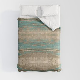 Rustic Wood - Beautiful Weathered Wooden Plank - knotty wood weathered turquoise paint Comforters