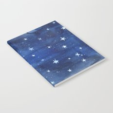 Midnight Stars Night Watercolor Painting by Robayre Notebook