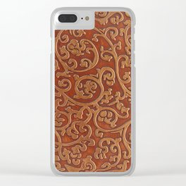 Golden Reddish Brown Tooled Leather Clear iPhone Case