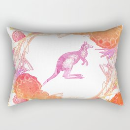 Beautiful watercolour australian native floral print with kangaroo Rectangular Pillow
