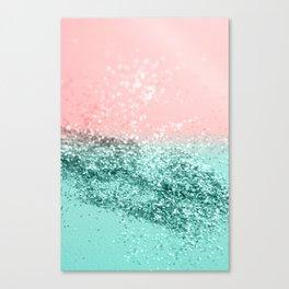 Summer Vibes Glitter #4 #coral #mint #shiny #decor #art #society6 Canvas Print