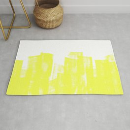 Rolled Ink Texture in Bright Yellow and White Rug
