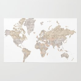 "World map in gray and brown watercolor ""Abey"" Rug"