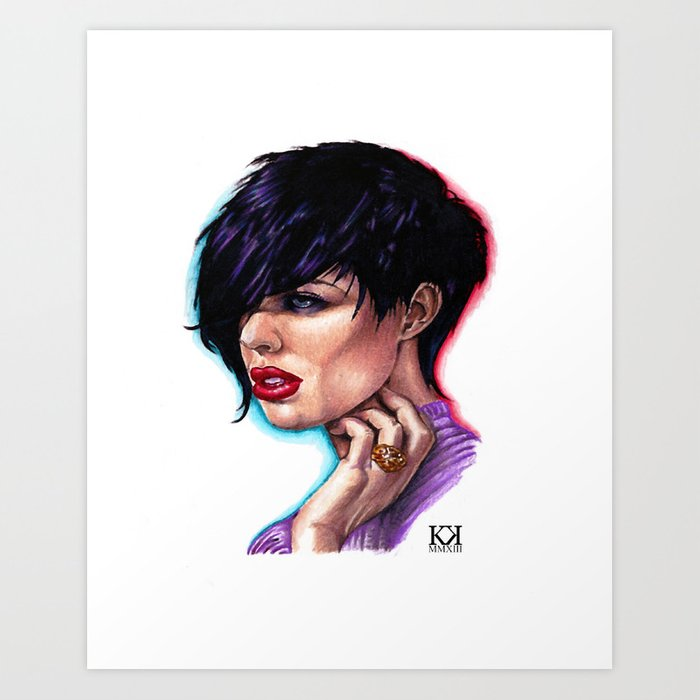 Dark Haired Woman Art Print