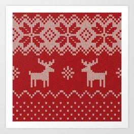 Christmas pattern knitting handmade scandinavian iIllustration with reindeer and heart Art Print