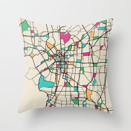 Colorful City Maps: Osaka, Japan Throw Pillow
