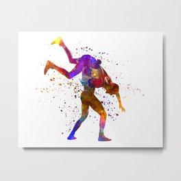 Wrestlers wrestling men 03 in watercolor Metal Print