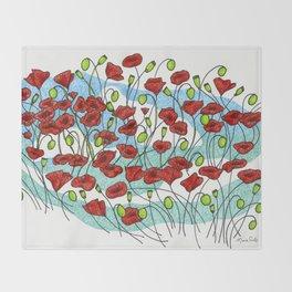 Field Poppies Throw Blanket