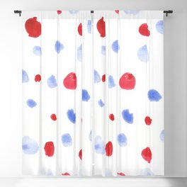Red and Blue dots watercolor design 4th of July Blackout Curtain