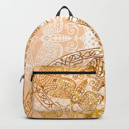 Bees Golden Mandala and Peach Backpack