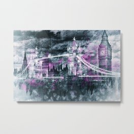 Modern-Art LONDON Tower Bridge & Big Ben Composing Metal Print