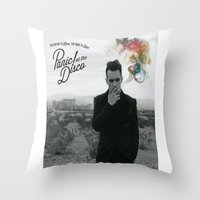 panic at the disco Throw Pillows featuring Panic! At The Disco Album Cover by marinasdiamonds