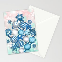 Blue white Christmas balls on square background Stationery Cards