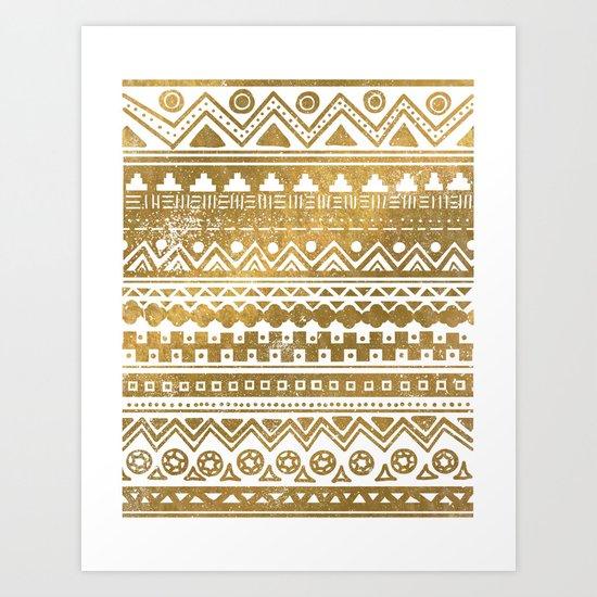 Gold Aztec Inspired Pattern Art Print