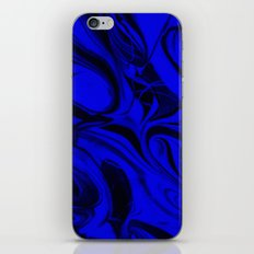 Black and Blue Swirl - Abstract, blue and black mixed paint pattern texture iPhone & iPod Skin