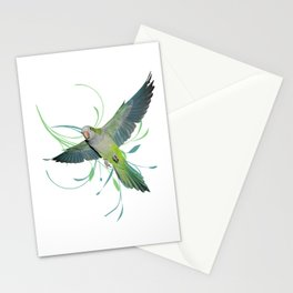 Flying quaker parrot Stationery Cards