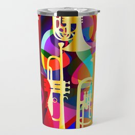 Colorful music instruments with guitar, trumpet, musical notes, bass clef and abstract decor Travel Mug