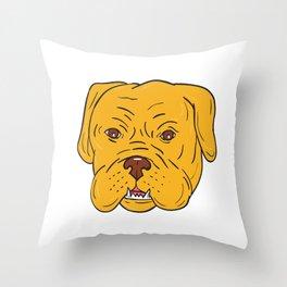 Bordeaux Dog Head Cartoon Throw Pillow