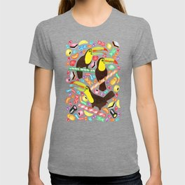 Toucandy - a sugary paradise with jelly beans and licorice surround tropical toucans on candy canes T-shirt