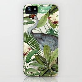 Tropical Heron Bird Rainforest Illustration iPhone Case