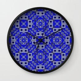 Vibrant Blue Indigo Grey Futuristic Quilt Print Wall Clock