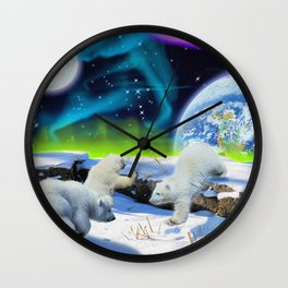 Joyful - Polar Bear Cubs and Planet Earth Wall Clock
