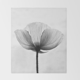 XRAY FLOWER [transparent black white poppy petals] Throw Blanket