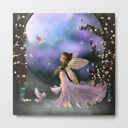 Little fairy with dove Metal Print