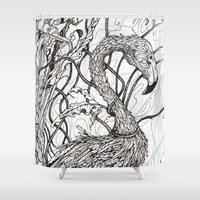 rare Shower Curtains featuring Rare Bird by Shanna Duncan