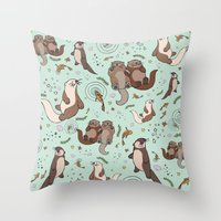 otters Throw Pillows featuring Sea Otters by Nemki
