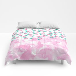 Artistic pink teal watercolor strawberry summer fruit Comforters