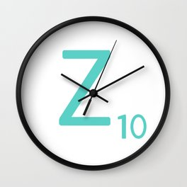 Blue Z Initial Scrabble Typography Wall Clock