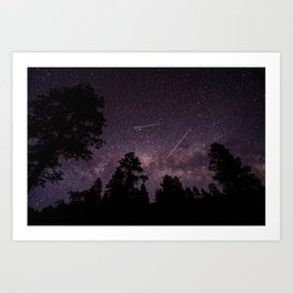 Busy Sky - Shooting Stars, Planes and Satellites in Colorado Night Sky Art Print