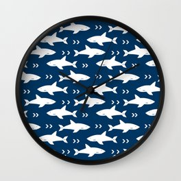 Shark pattern navy and white minimal modern basic nursery triangles chevrons nursery Wall Clock