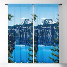 Crater Lake // Incredible National Park Views of the Dark Blue Waters Sky and Mountains through the Blackout Curtain