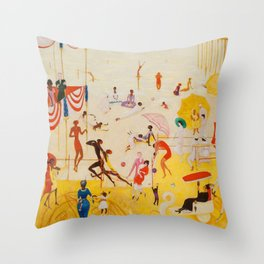 African American Masterpiece 'Summertime, Asbury Park, South' by Florine Stettheimer Throw Pillow
