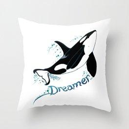 Dreamer Orca (Amber Marine, Indie Wildlife Artist Official Logo, Copyright 2015) Killer Whale Art Throw Pillow