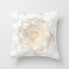 Marble Gold Mandala Design Throw Pillow