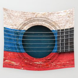 Old Vintage Acoustic Guitar with Russian Flag Wall Tapestry