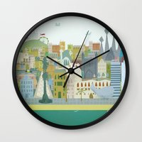 barcelona Wall Clocks featuring Barcelona by LaPendeja