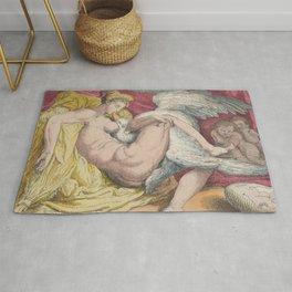 "Thomas Rowlandson ""Leda and the Swan"" after Michelangelo Buonarroti Rug"