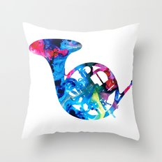 Colorful French Horn 2 - Cool Colors Abstract Art Sharon Cummings Throw Pillow
