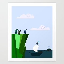 You and me by the sea Art Print