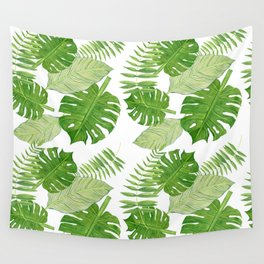 Tropical Leaves in Watercolor Wall Tapestry