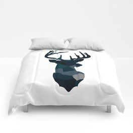 Blue Geometric Stags Antlers Comforters