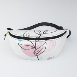 Leaf with Pink Circles Fanny Pack