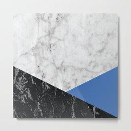 White Marble Black Granite & Blue #509 Metal Print