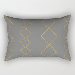 Moroccan Diamond Stripe in Grey Mustard Rectangular Pillow