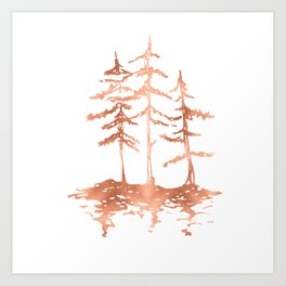 Three Sisters Trees Rose Gold on White Art Print